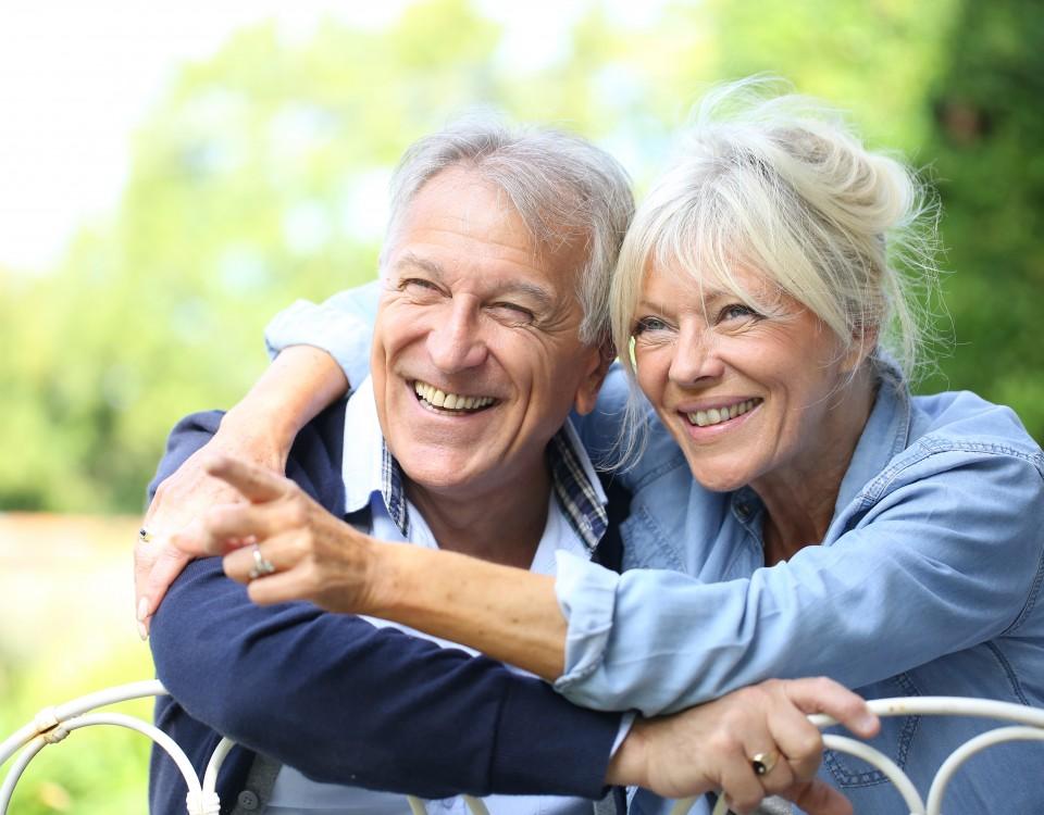 Senior couple enjoying day outside